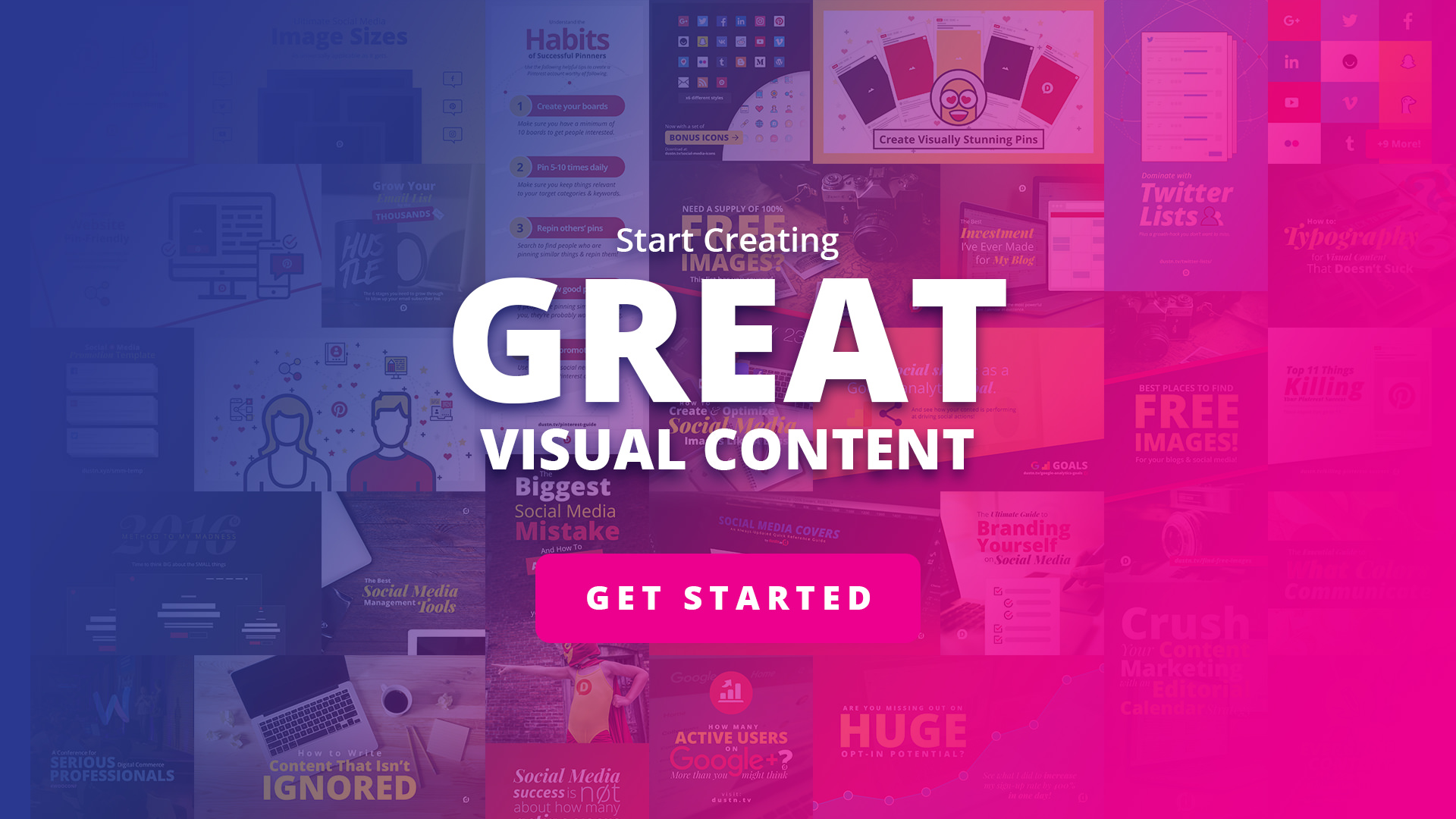 visual collage with get started button
